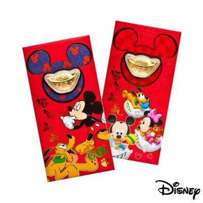 Disney迪士尼系列金飾-黃金元寶紅包袋-福氣旺來+歡樂夢境款