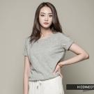 H:CONNECT 韓國品牌 女裝 - 純色混紡短袖上衣 - 灰(快)