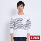 EDWIN 休閒條紋貼袋長袖T恤-男-白色