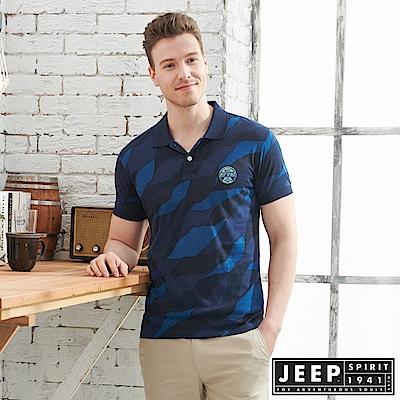 JEEP叢林迷彩短袖POLO衫-深藍
