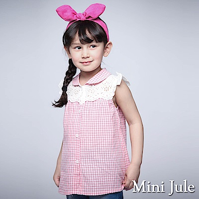 Mini Jule 童裝-上衣 布蕾絲拼接小花釦格紋襯衫(粉)