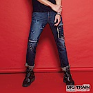 BIG TRAIN 街頭水洗迷彩口袋小直筒褲-男-深藍