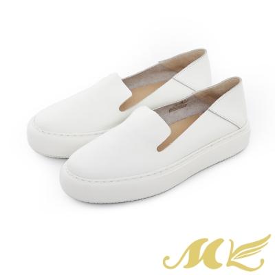 MK-網路限定-透氣真皮兩穿懶人厚底休閒鞋-白色