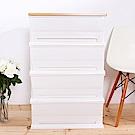 HOUSE 時光白色超大120公升木天板四層櫃-無輪