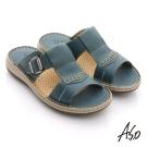 A.S.O 奈米氣墊 真皮縫線工字自黏帶涼拖鞋 藍