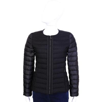 MAX MARA-WEEKEND 黑色刺繡圖騰羽絨外套