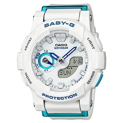 BABY-G亮眼搶色運動穿搭跑者設計概念錶(BGA-185FS-7A)-白x藍針/44mm