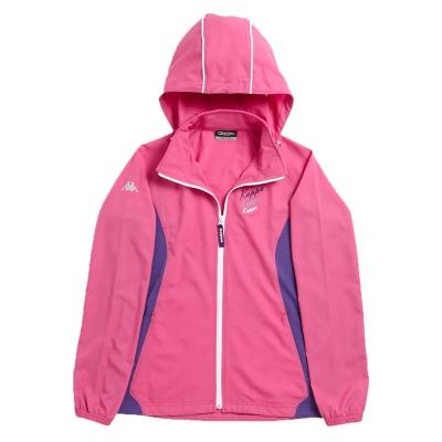 KAPPA義大利女平織慢跑風衣外套~櫻桃紅(隱藏帽)