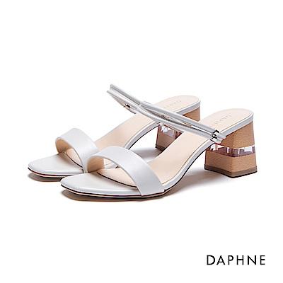 達芙妮DAPHNE 涼拖鞋-透形切跟線圈一字方頭涼拖鞋-米白