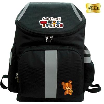 【發條小熊TRUFFE】立體反光安全護脊書包(黑_TF-5685)