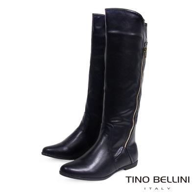 Tino Bellini 俐落中性拉鍊線條平底長筒靴_黑