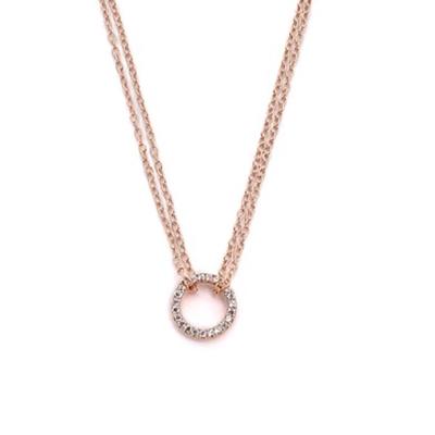 SHASHI 紐約品牌 Circle Pave 鑲鑽圓滿圈圈項鍊 925純銀鑲18K玫瑰金