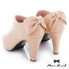 Mori girl 後蝴蝶結粗高跟踝靴 杏