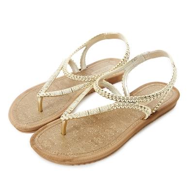 GRENDHA 金屬編織帶蛇紋印花平底涼鞋-金