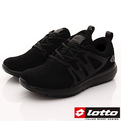 Lotto樂得-彈力編織跑鞋-SI650黑(女段)