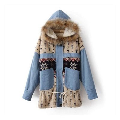 【Love20首爾館】現貨 雪花拼色連帽式毛領棉布外套(共三色)