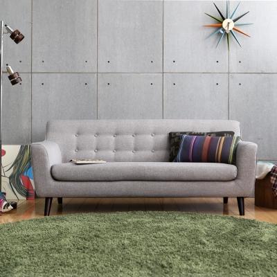 MODERN DECO 艾柏日式拉釦造型三人布沙發-多色選