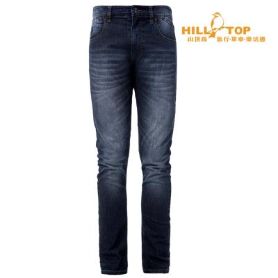 【hilltop山頂鳥】男款涼感吸濕排汗彈性牛仔褲S07MA4深牛仔藍