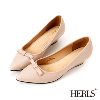 HERLS 氣質首選 OL小心機蝴蝶結楔型鞋-粉色
