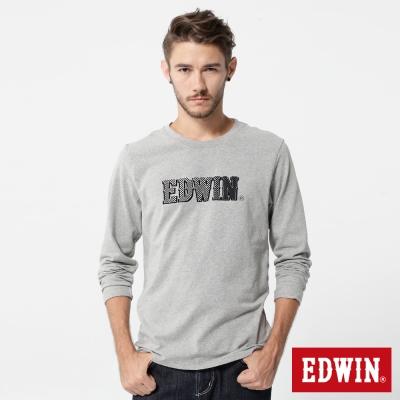 EDWIN 賽車旗格LOGO長袖T恤-男-灰色