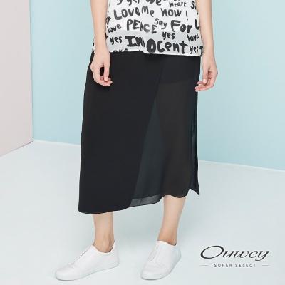OUWEY歐薇-透感雪紡活片中長褲裙-黑