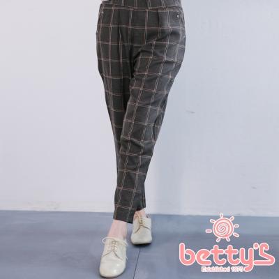 betty's貝蒂思 格紋打摺雪紡老爺褲(深灰)