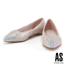 低跟鞋 AS 璀璨星空羊麂皮尖頭低跟鞋-金
