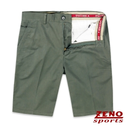 ZENO 彈力舒適暗直紋休閒短褲‧綠色31-42
