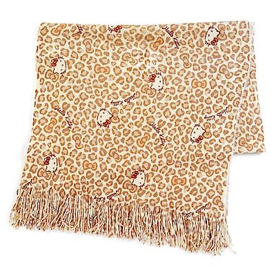 Sanrio HELLO KITTY超柔觸感保暖披巾(豹紋)