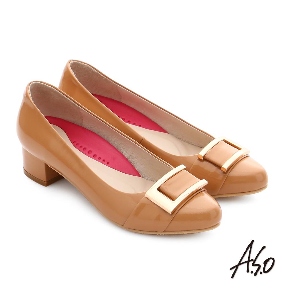 A.S.O 職場女力 真皮鏡面方形飾扣高跟鞋 卡其色