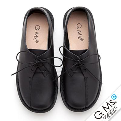 【G.Ms.】MIT系列‧樂活通勤款‧繫帶蝴蝶結牛皮圓頭休閒鞋‧實搭黑