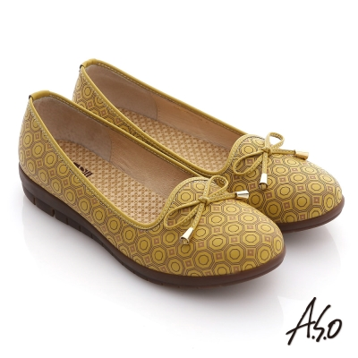 A.S.O 輕漾樂活 全真皮復古雷雕舒適平底鞋 黃