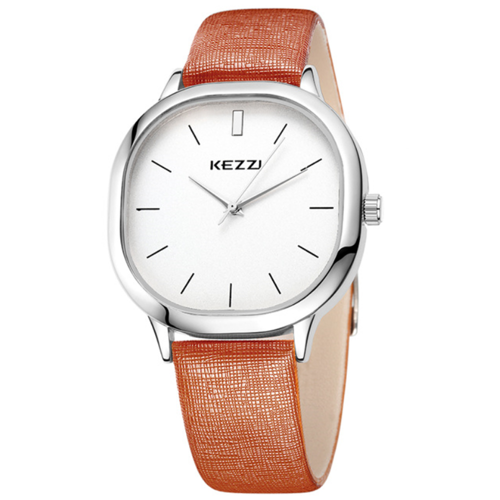 Kezzi-1125日式極簡方形情侶手錶-褐色x男38x38mm