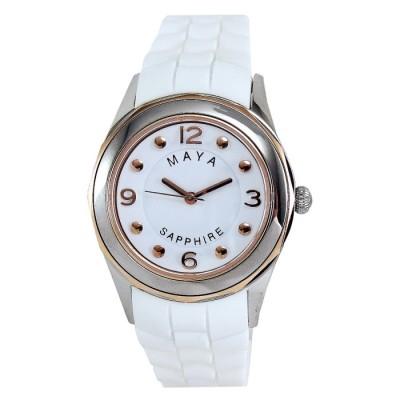 MAYA 俏麗靚亮繽紛彩系腕錶-白/40mm