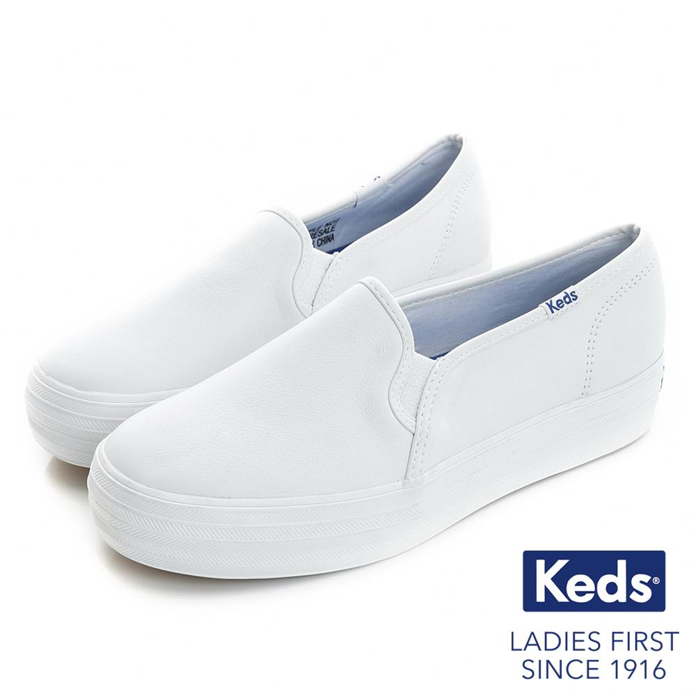 Keds品牌經典厚底皮質休閒便鞋-白