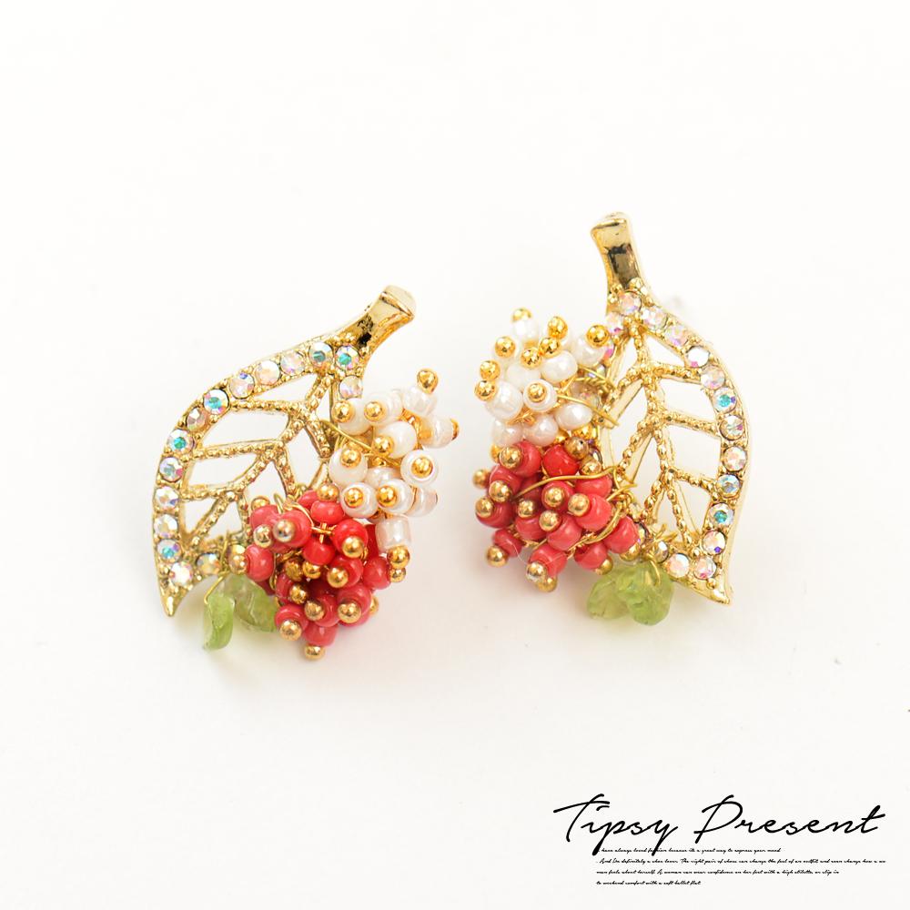 微醺禮物 耳環 正韓 果實樹葉 珠珠水鑽  合金鍍K金 耳環