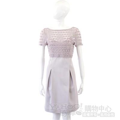 PHILOSOPHY-AF 粉紫色織花拼接短袖洋裝