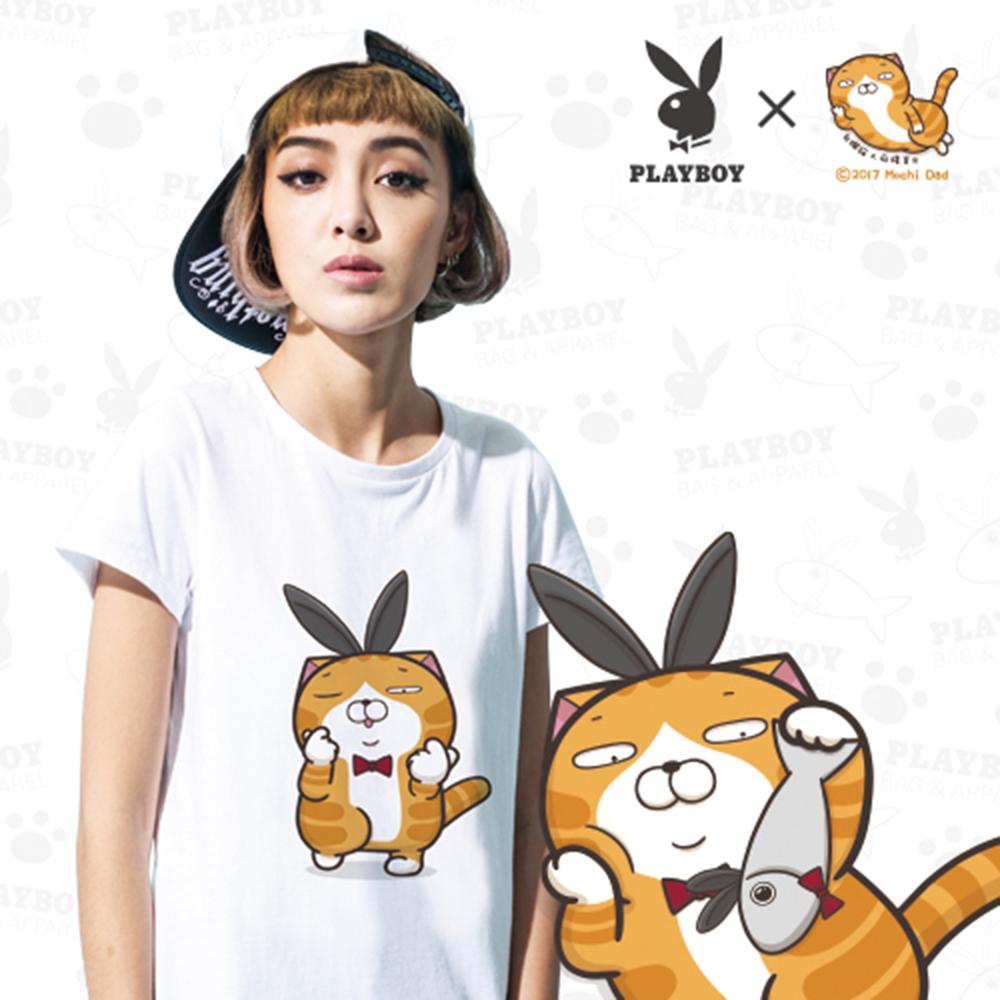 PLAYBOY X白爛貓嗆跩聯名T恤-莎郎嘿唷款-白色M