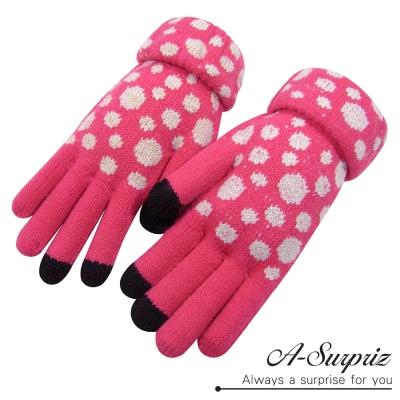 A-Surpriz-可愛斑點針織保暖觸控手套-西瓜