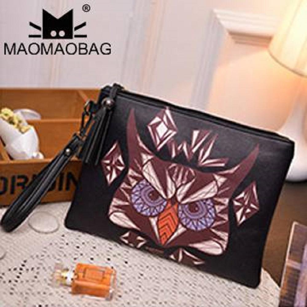 MaoMaoBag-韓版印花圖案手拿包-黑貓頭鷹