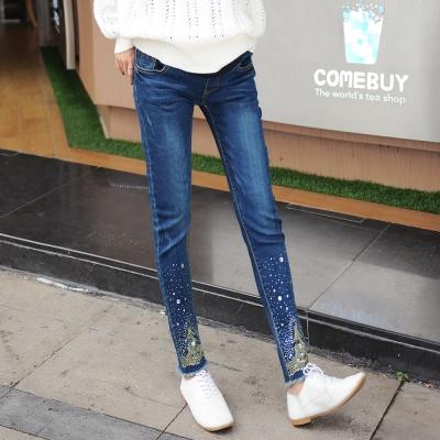 Keep-Chic孕婦裝-深藍色時尚燙鑽托腹牛仔褲