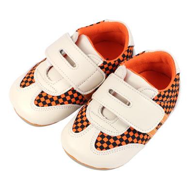 Swan天鵝童鞋-經典賽車格紋學步鞋1418-米