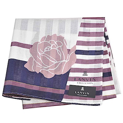 LANVIN 經典品牌玫瑰圖騰直紋LOGO大帕領巾(咖啡系)