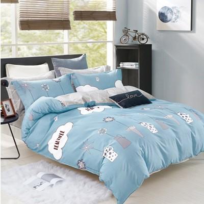 美夢元素 台製~精梳棉~兩用被床包組~靜水湖畔  單人