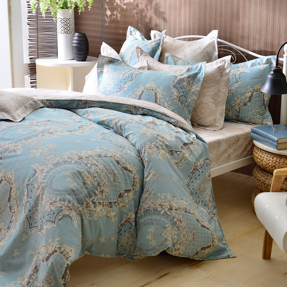 義大利La Belle 單人純棉防蹣抗菌吸濕排汗兩用被床包組-奧黛莉