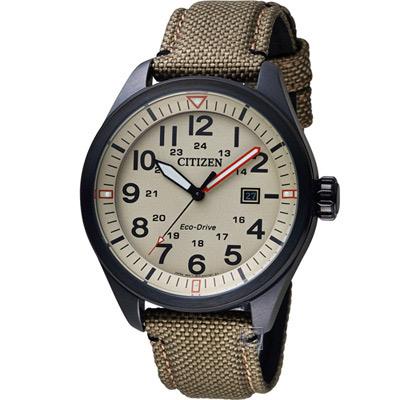 CITIZEN 星辰 硬派型格光動能腕錶(AW5005-12X)-米褐/42.5mm