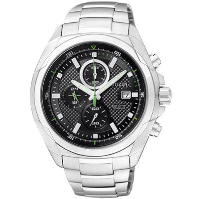 CITIZEN ECO-Drive 超級鈦金屬計時腕錶(CA0190-56E)-黑/43mm