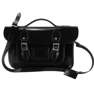 The Leather Satchel 英國手工牛皮劍橋包 肩背手提包 搖滾黑 12.5吋