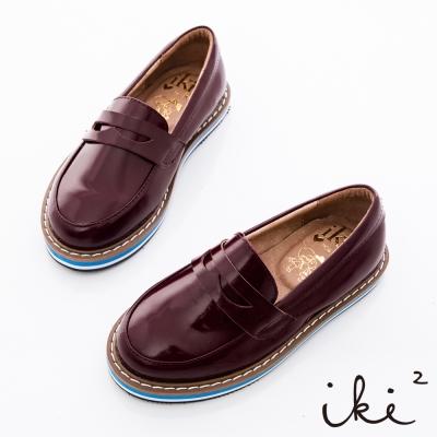 iki2童鞋-厚底拼接真皮牛津鞋-紅