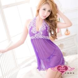 睡衣 蕾絲加大尺碼連身睡衣(紫M~3L) 天使霓裳